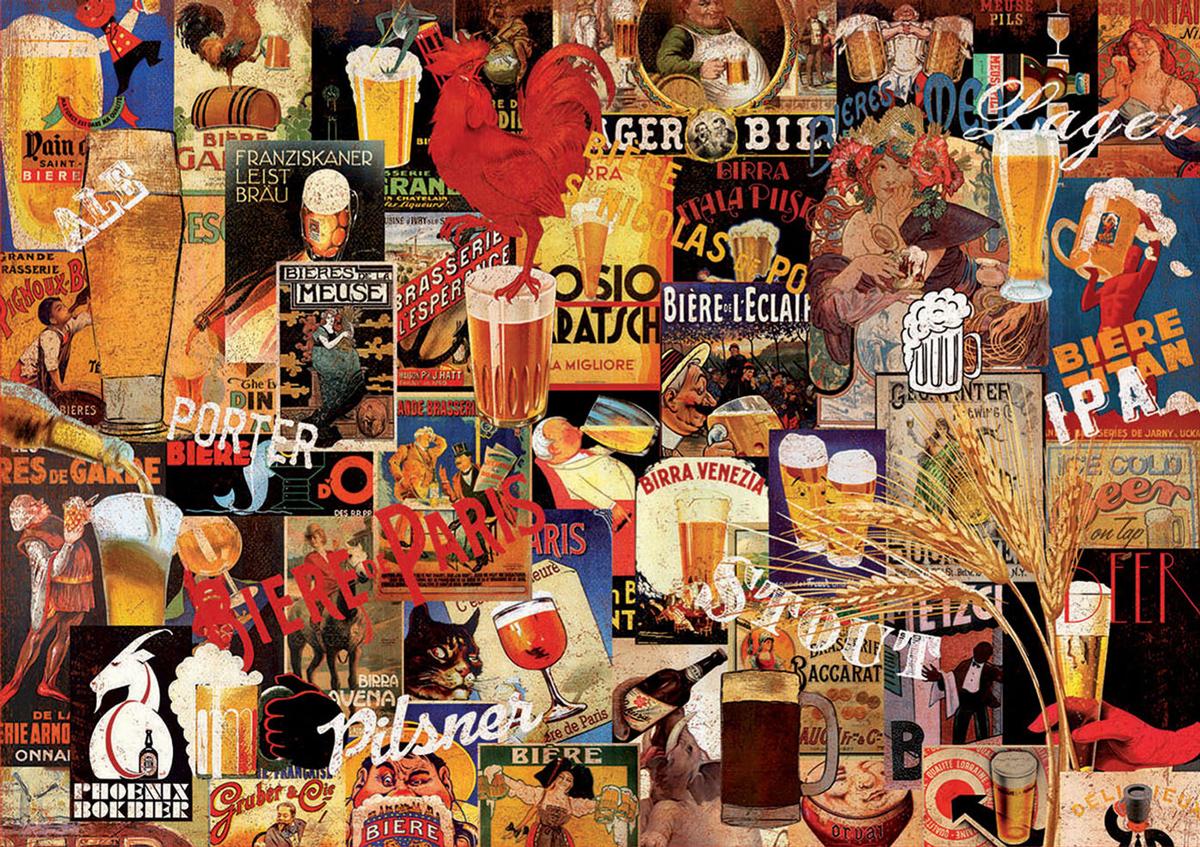 Vintage Beer Collage Nostalgic / Retro Jigsaw Puzzle