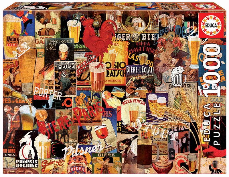 Vintage Beer Collage Cocktails / Spirits Jigsaw Puzzle