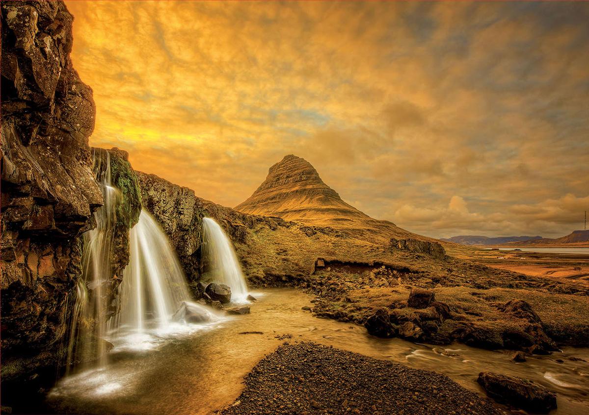Kirkjufellsfoss Waterfall, Iceland Landscape Jigsaw Puzzle