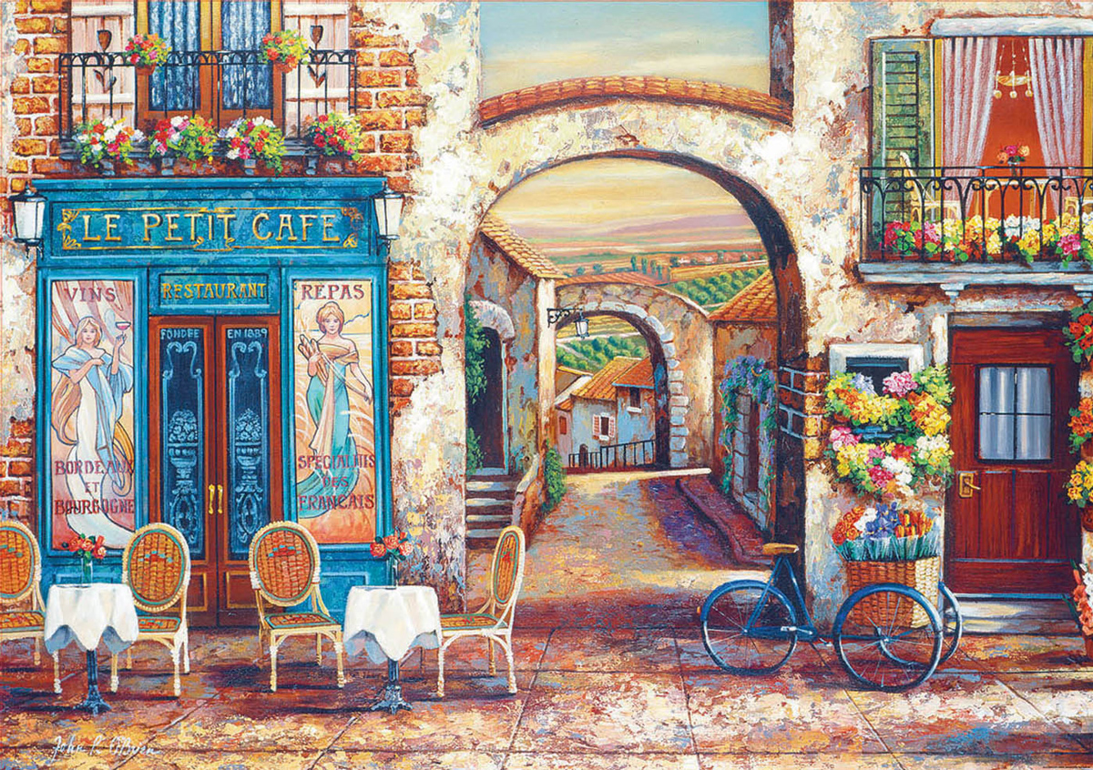 Le Petit Café Street Scene Jigsaw Puzzle