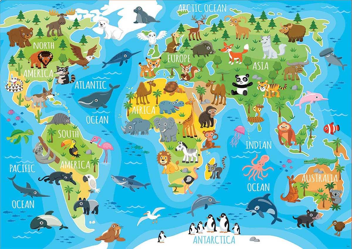 Animals World Map Animals Jigsaw Puzzle