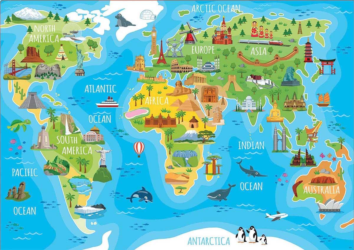 Monuments World Map Landmarks / Monuments Jigsaw Puzzle