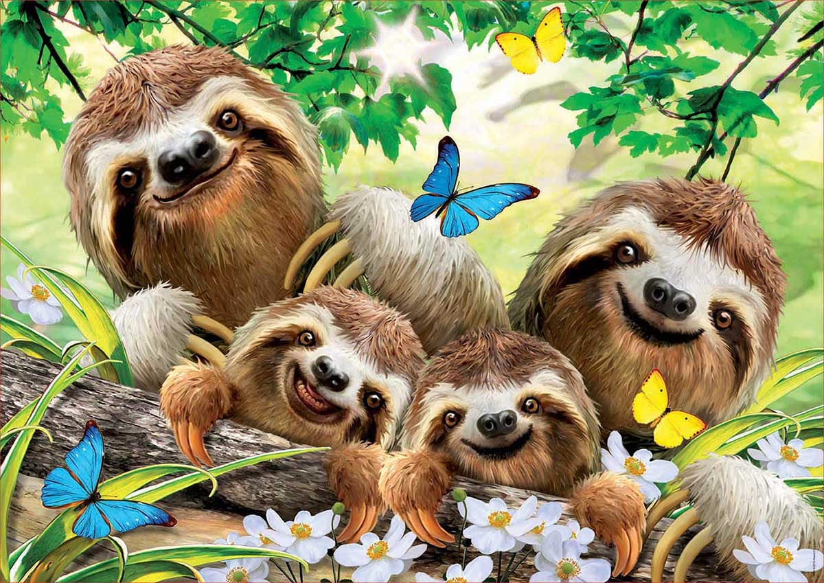 Sloth Family Selfie Animals Jigsaw Puzzle