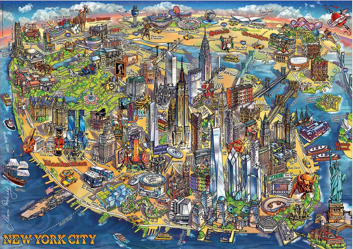 New York Map Maps / Geography Jigsaw Puzzle