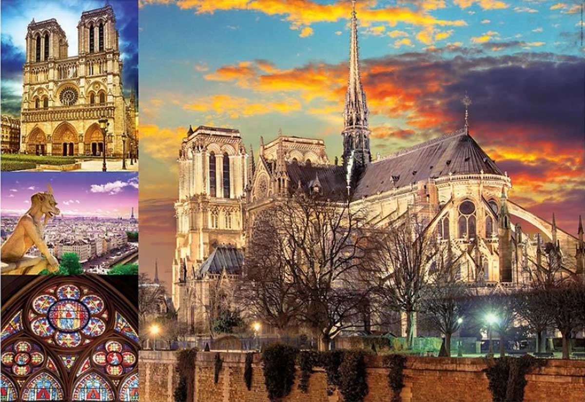 Notre Dame Collage Landmarks / Monuments Jigsaw Puzzle