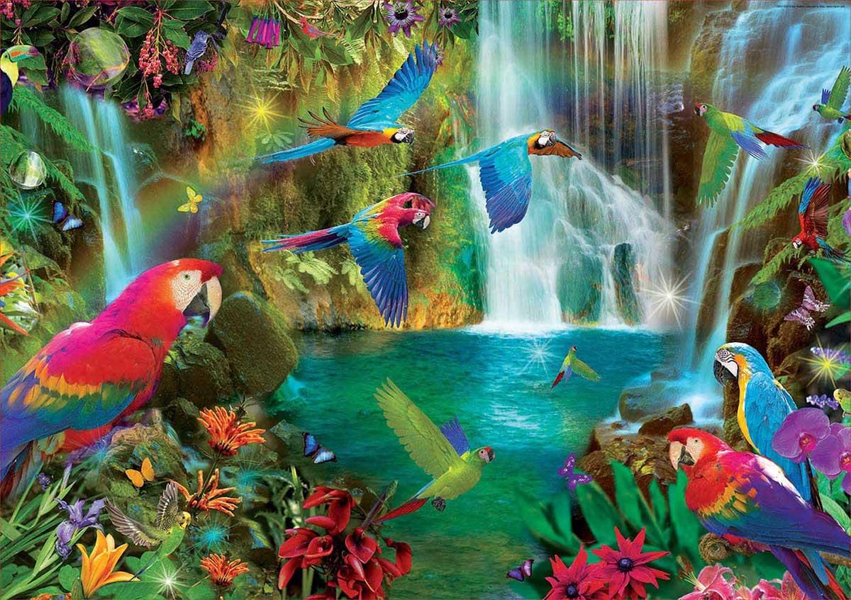 Tropical Parrots Birds Jigsaw Puzzle
