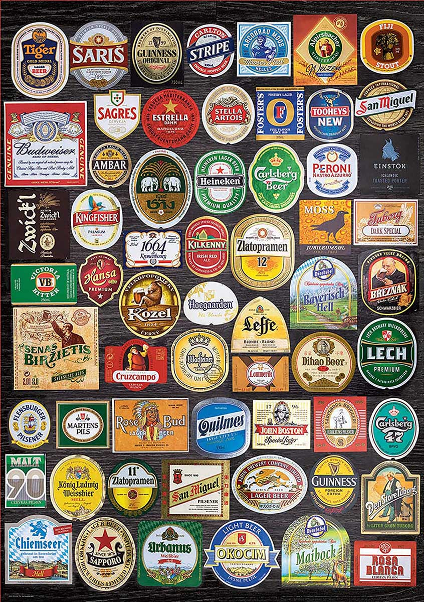 Beer Labels Collage Food and Drink Jigsaw Puzzle