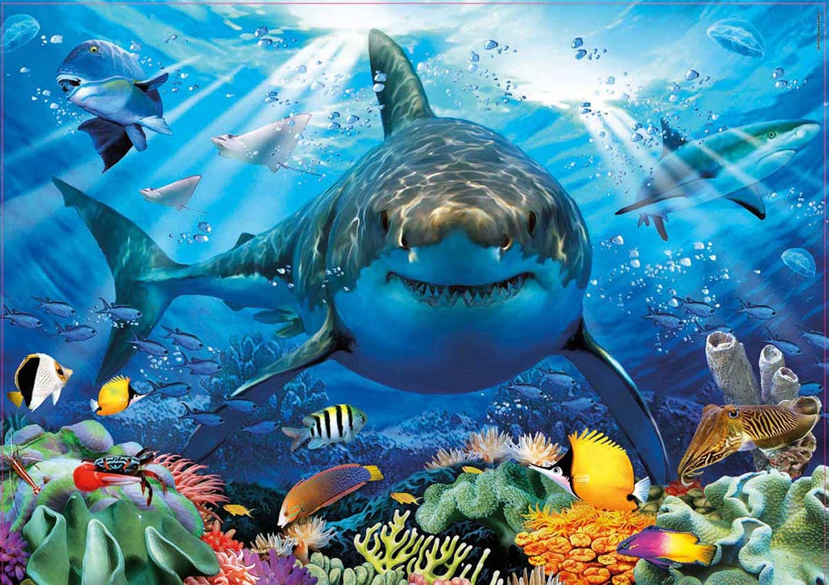 Great White Shark Under The Sea Jigsaw Puzzle
