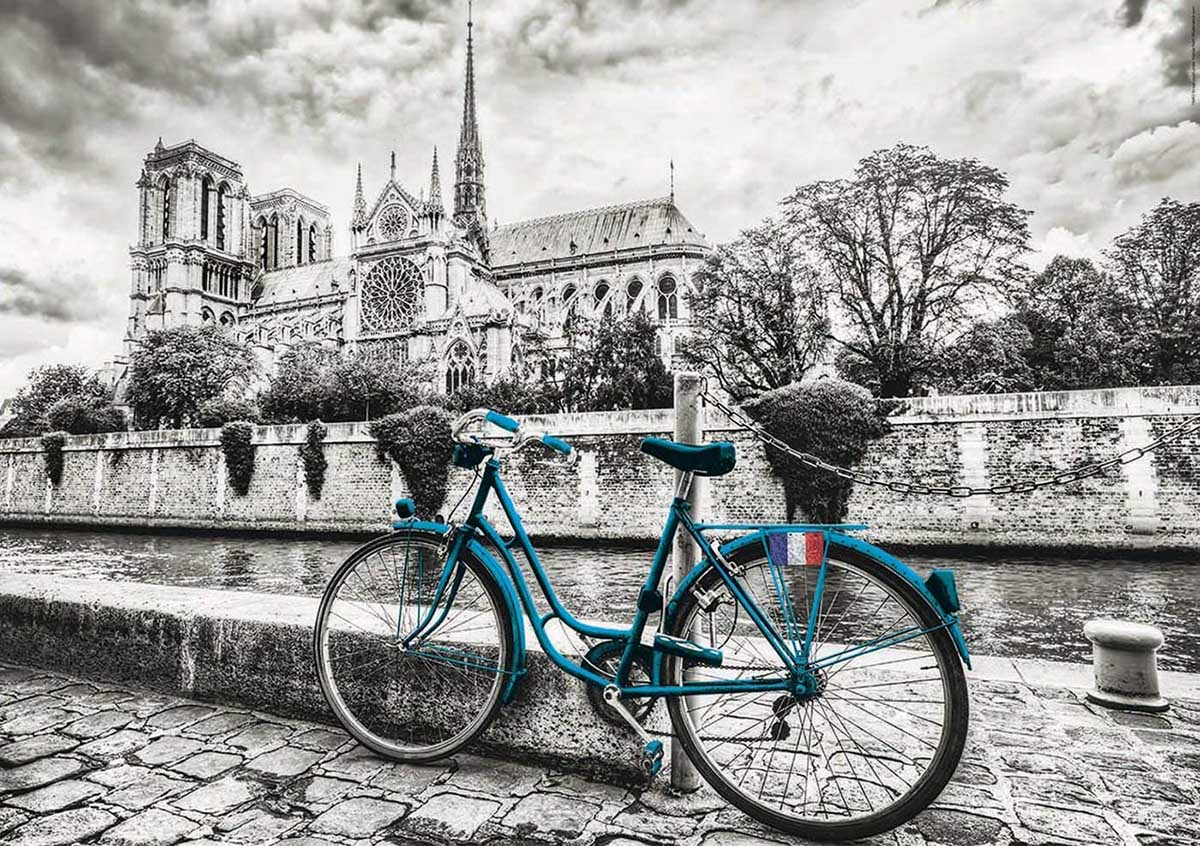 Bike Near Notre Dame France Jigsaw Puzzle