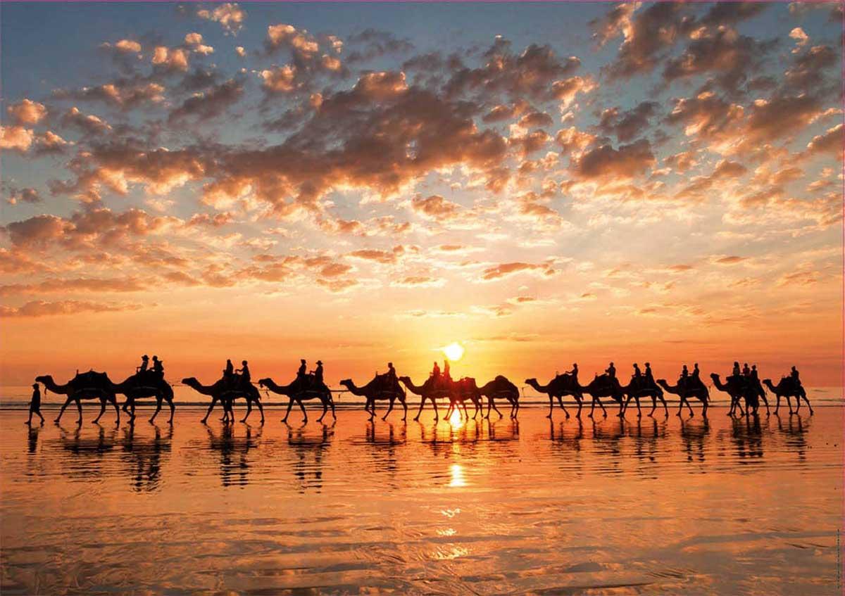 Golden Sunset On Cable Beach, Australia Landscape Jigsaw Puzzle