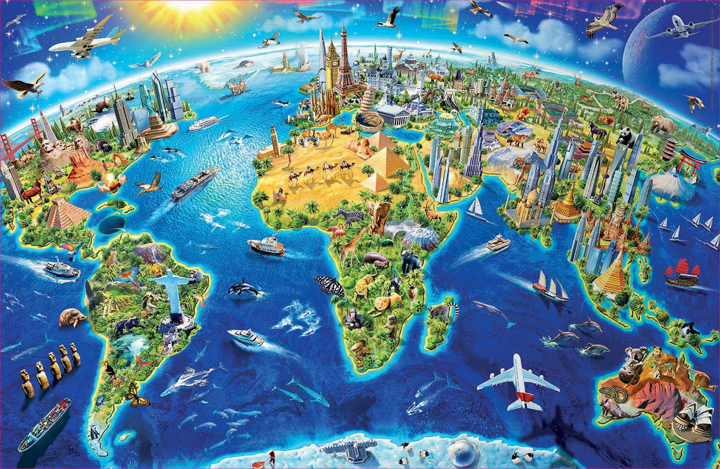 World Landmarks Maps / Geography Jigsaw Puzzle