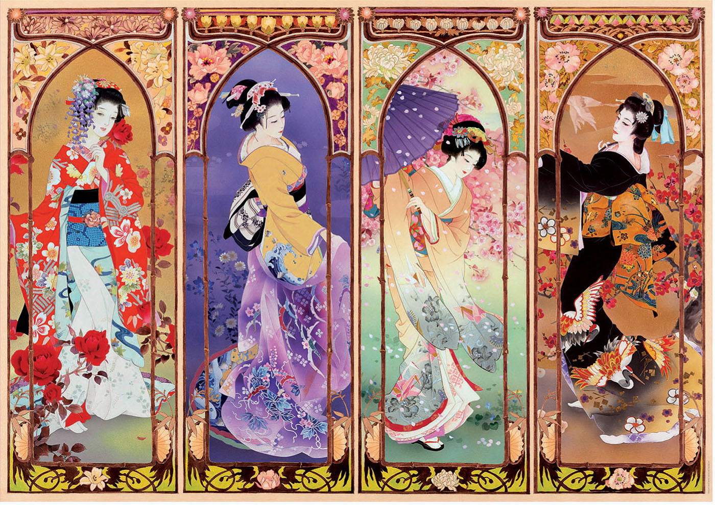 Japanese Collage Asian Art Jigsaw Puzzle