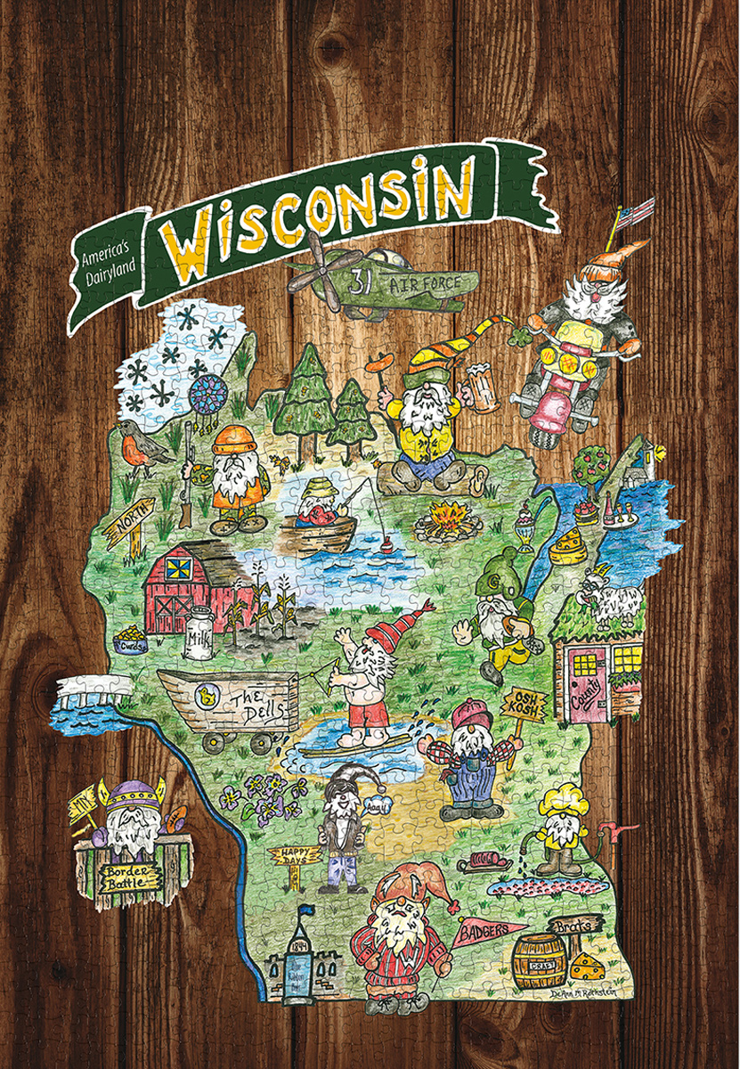 Gnome Sweet Gnome-Wisconsin Jigsaw Puzzle