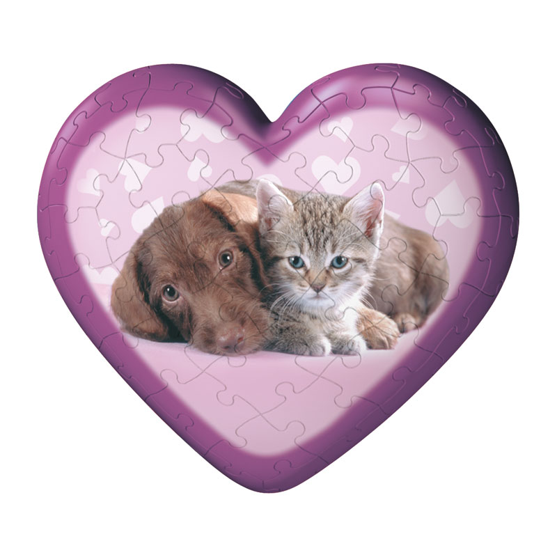 Puzzleball Sweet Animal Hearts - puppy & kitten Dogs Jigsaw Puzzle