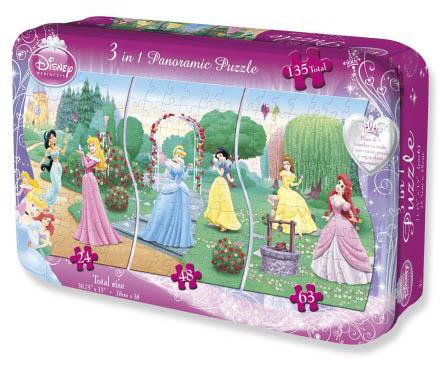 3 in 1 Panoramic - Disney Princess Cartoons Jigsaw Puzzle