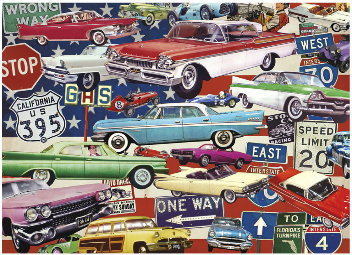 Fancy Fins & Classic Chrome Cars Jigsaw Puzzle