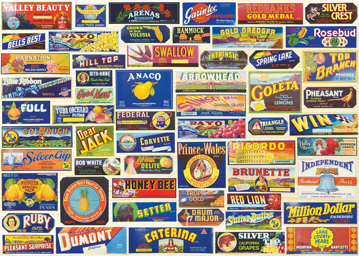 Vintage Crate Labels Nostalgic / Retro Jigsaw Puzzle