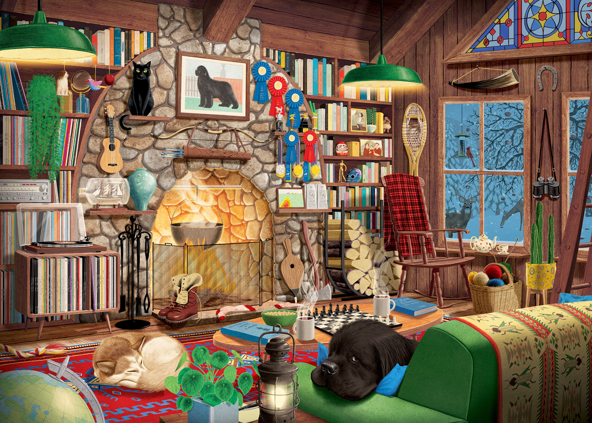 Cozy Country Cabin Winter Jigsaw Puzzle