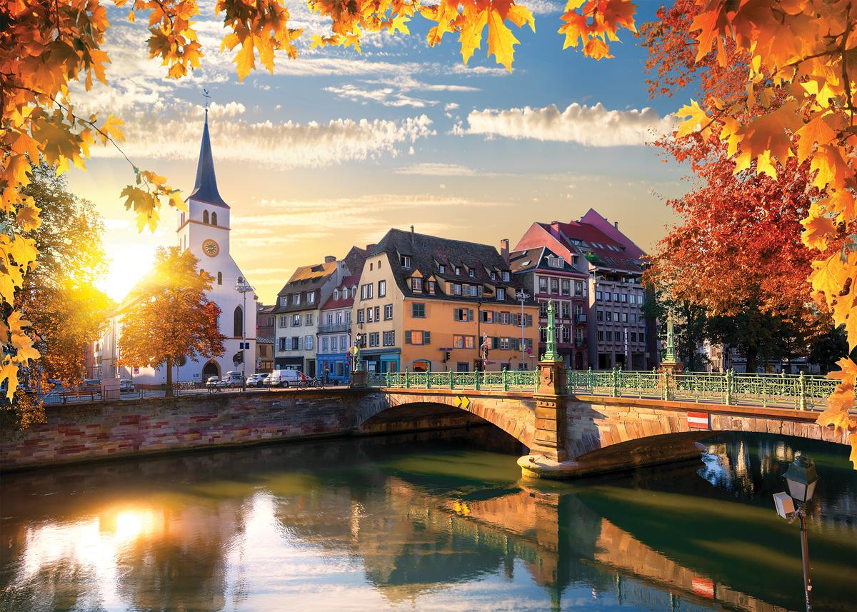 Strasbourg Sundown Churches Jigsaw Puzzle