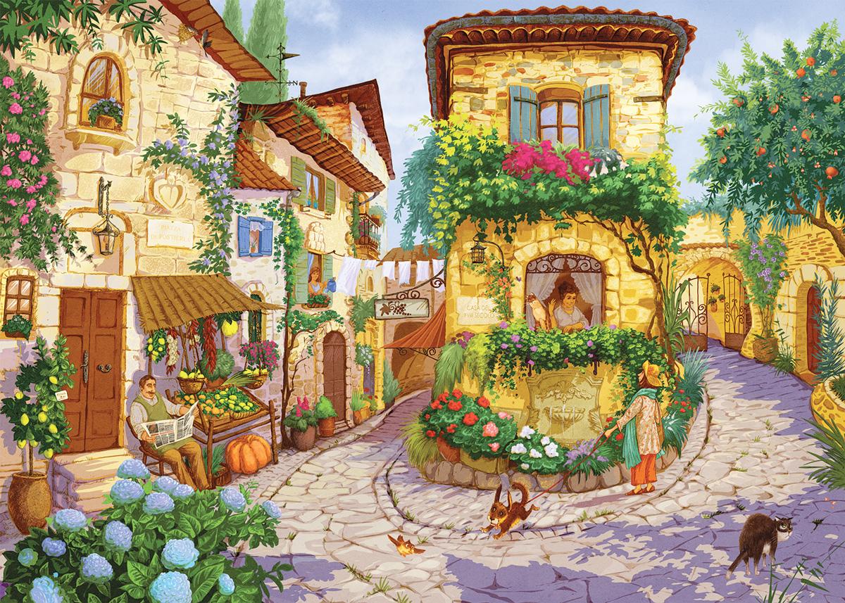 Italian Village Square Italy Jigsaw Puzzle
