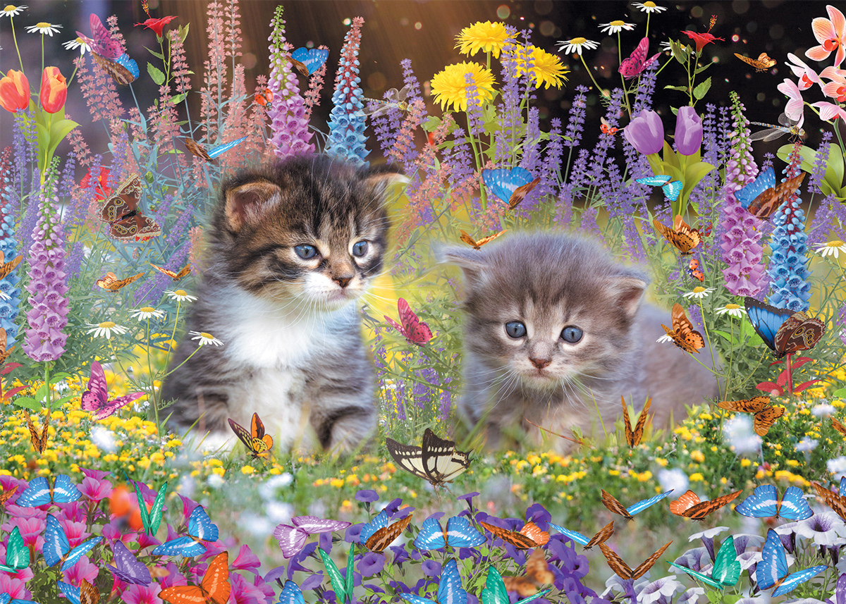 Kittens and Butterflies Cats Jigsaw Puzzle