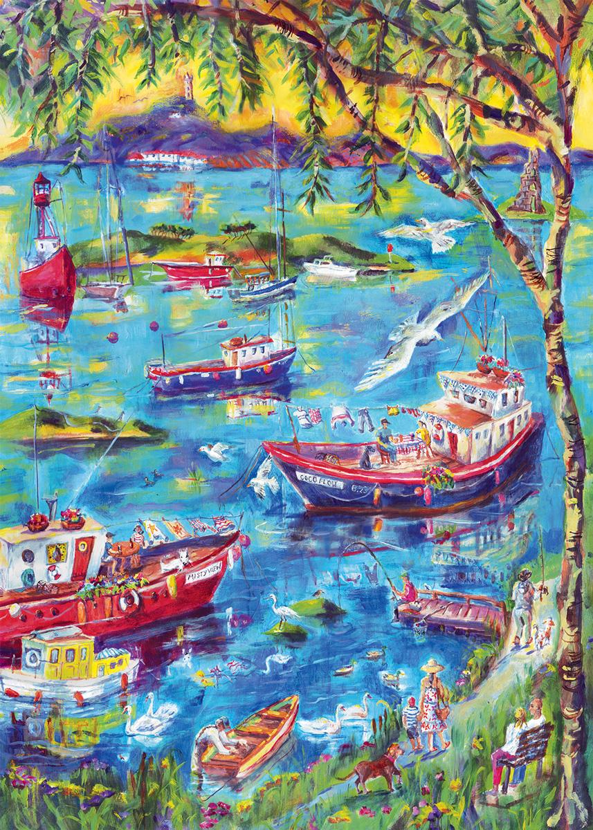 Boats at Sunset Bay Boats Jigsaw Puzzle