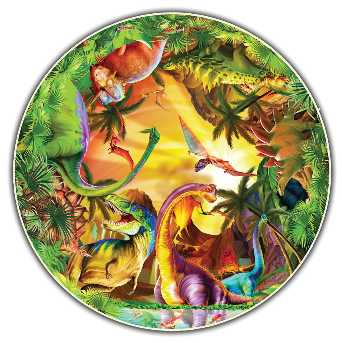 Dinos Kids Round Table Puzzle Shaped Puzzle