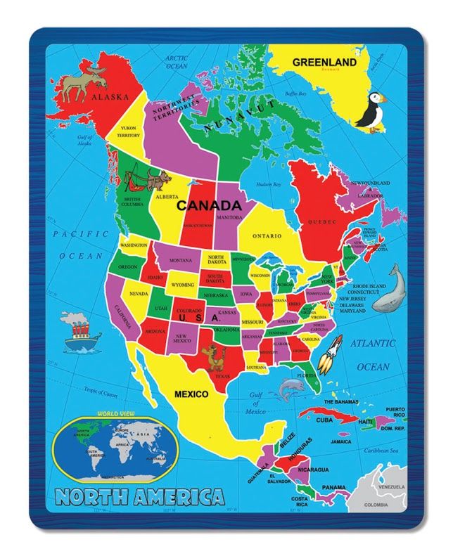 North America Map Puzzle - Canada map puzzles