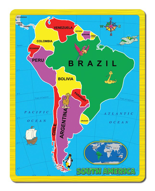 Map Of America Jigsaw.South America The Continent Puzzle