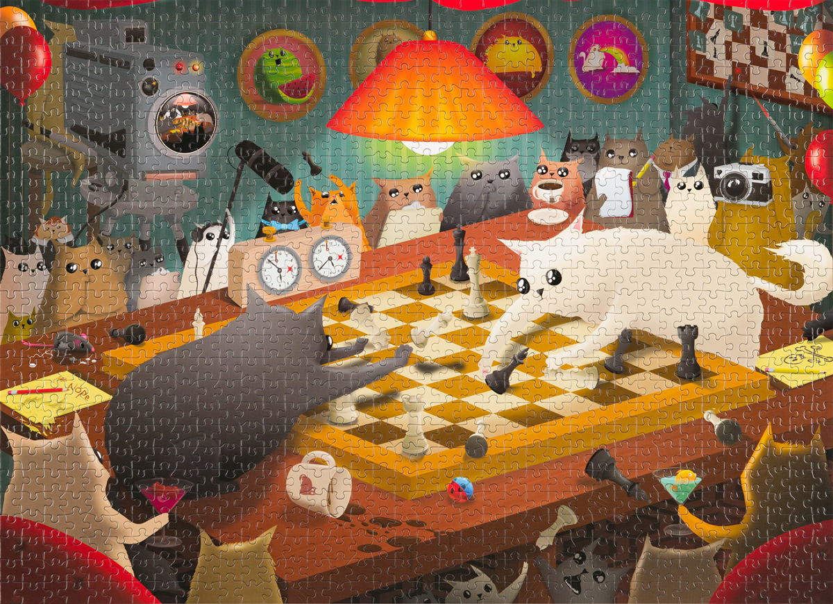 Cats Playing Chess Cats Jigsaw Puzzle