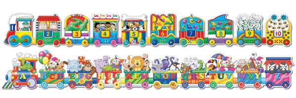 Puzzle Doubles Giant ABC & 123 Train Educational Children's Puzzles