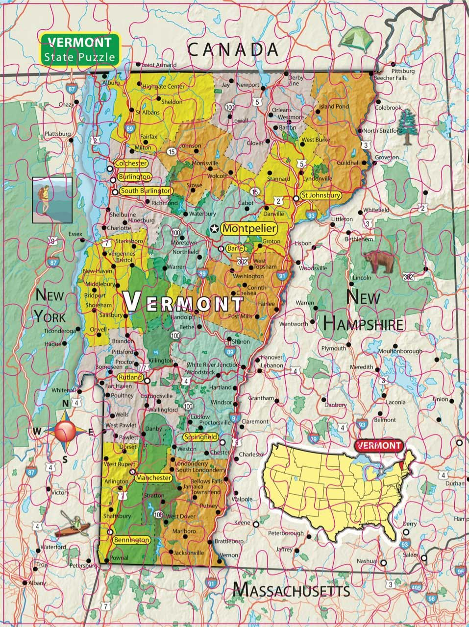 City Magnetic Puzzle Vermont Cities Jigsaw Puzzle