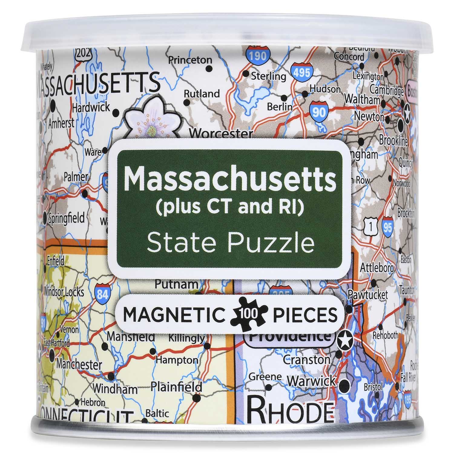 City Magnetic Puzzle Massachusetts, Connecticut, Rhode Island Cities Jigsaw Puzzle