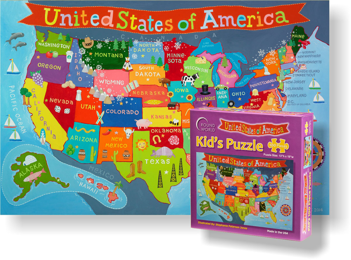 Kid's USA Map Maps / Geography Children's Puzzles