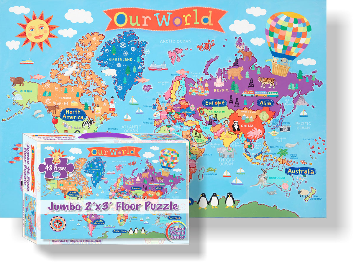 Kid's World Floor Puzzle Maps / Geography Floor Puzzle