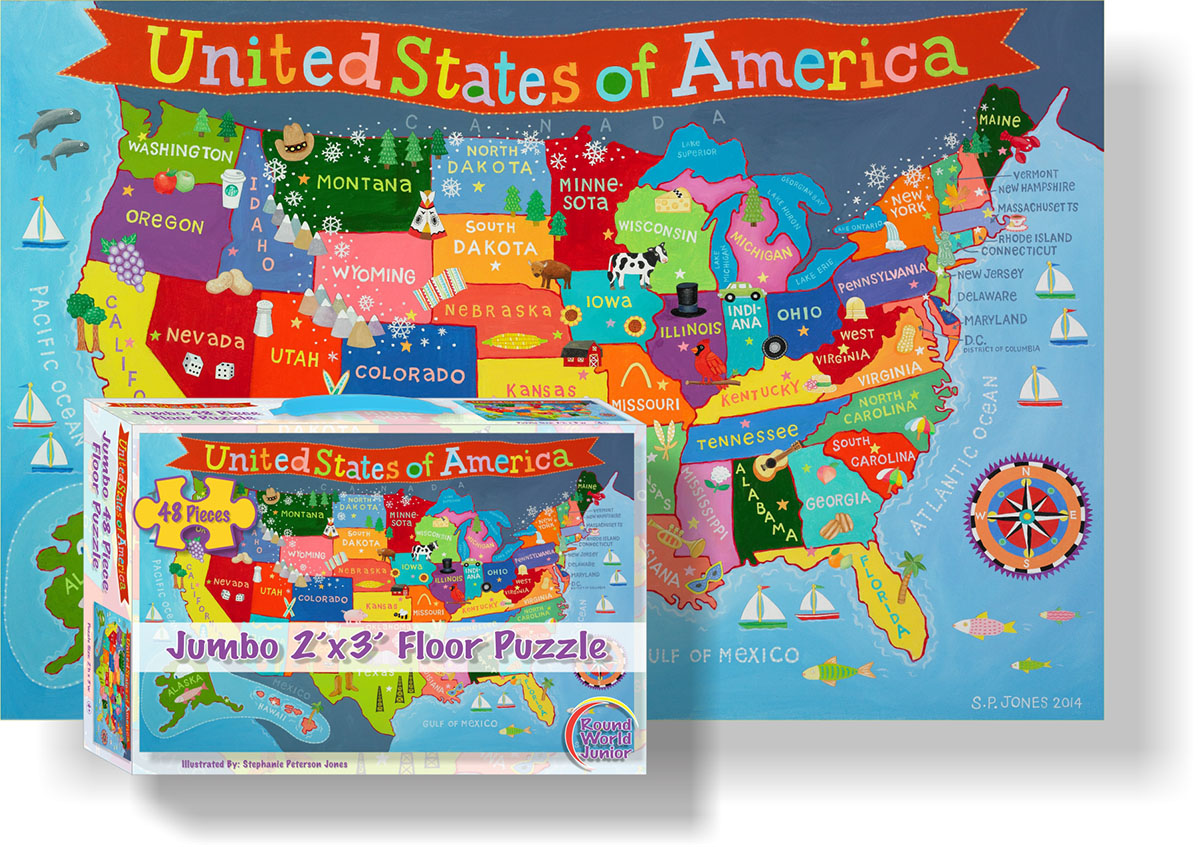 Kid's USA Floor Puzzle Maps / Geography Floor Puzzle