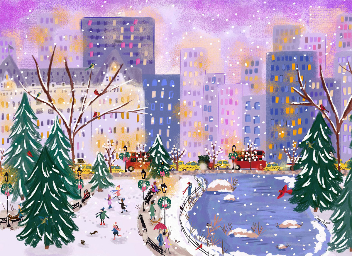 Flurry at Twilight Cities Jigsaw Puzzle