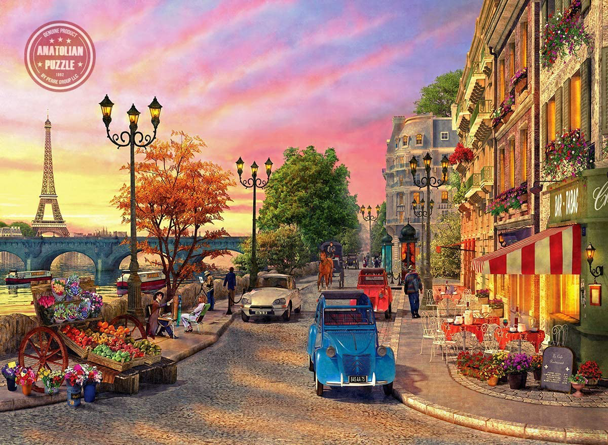 Seine Sunset Street Scene Jigsaw Puzzle