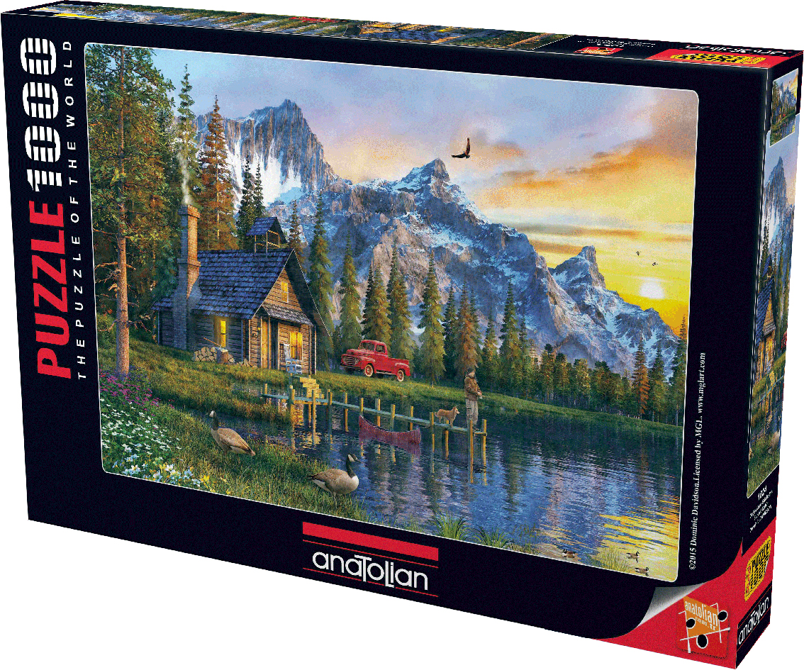 Sunset Cabin Mountains Jigsaw Puzzle