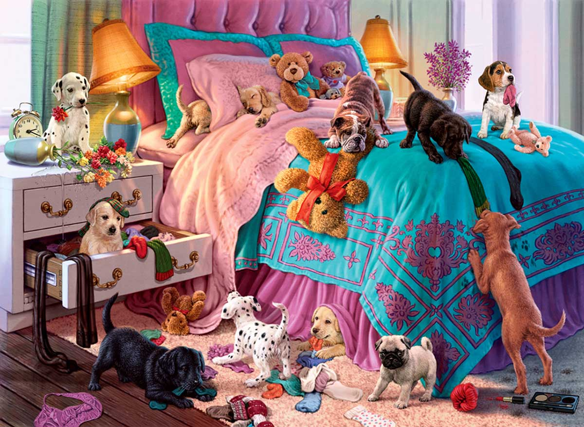 Naughty Puppies Dogs Jigsaw Puzzle