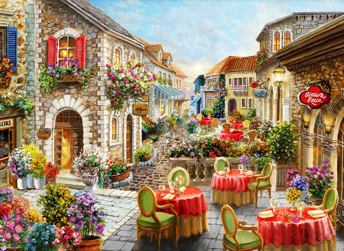 Fiori Caffes Street Scene Jigsaw Puzzle