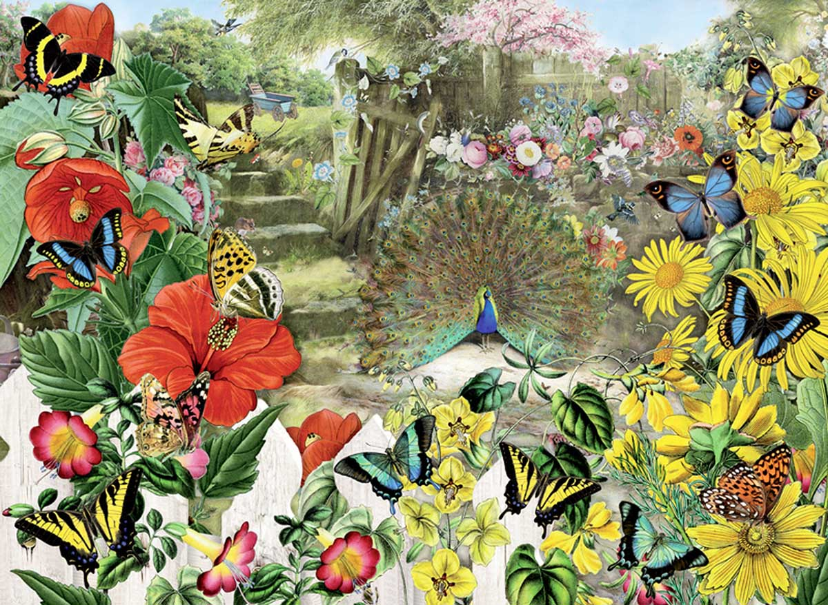 Peacock in the Garden Birds Jigsaw Puzzle