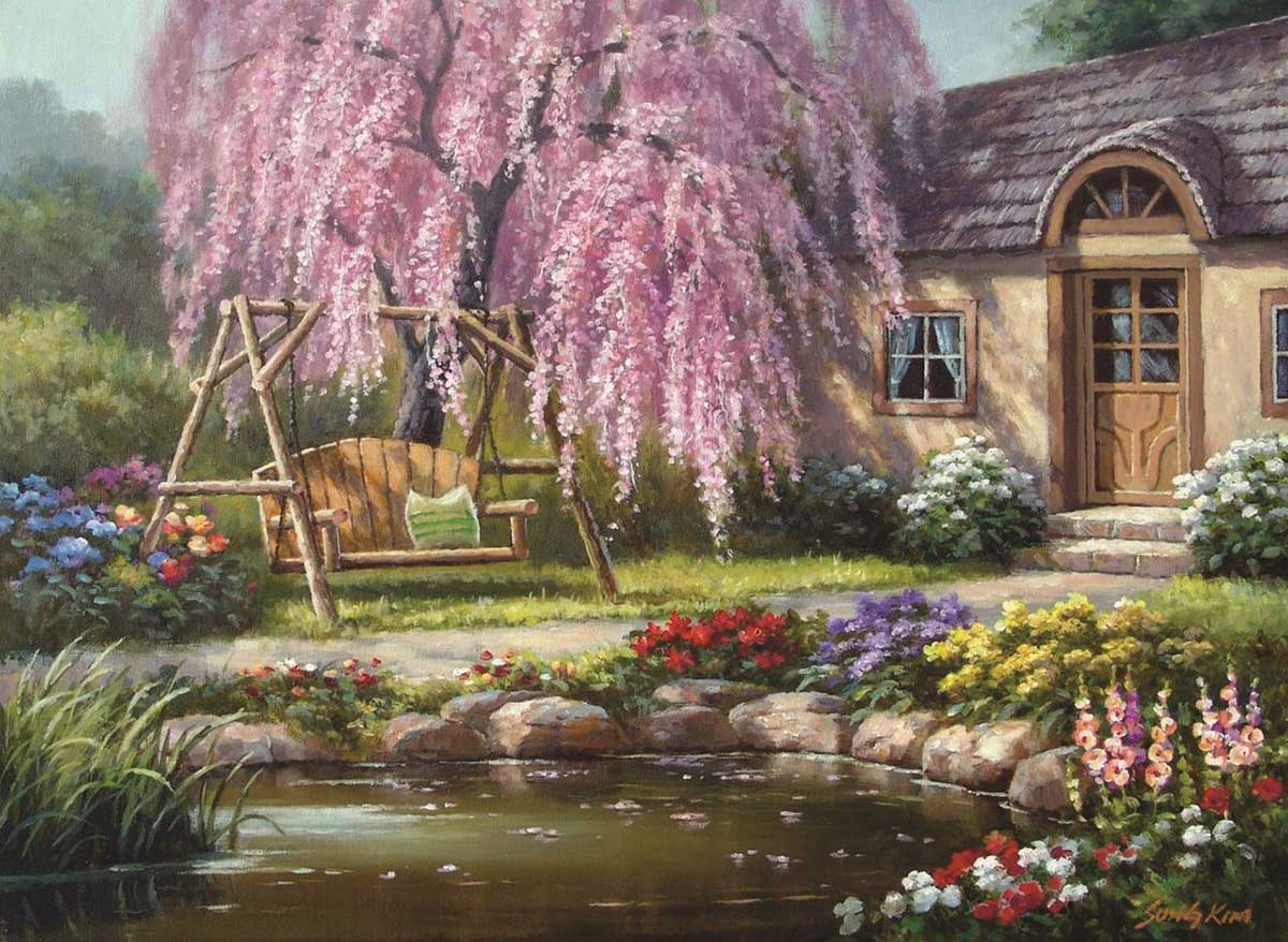 Cherry Blossom Cottage Flowers Jigsaw Puzzle