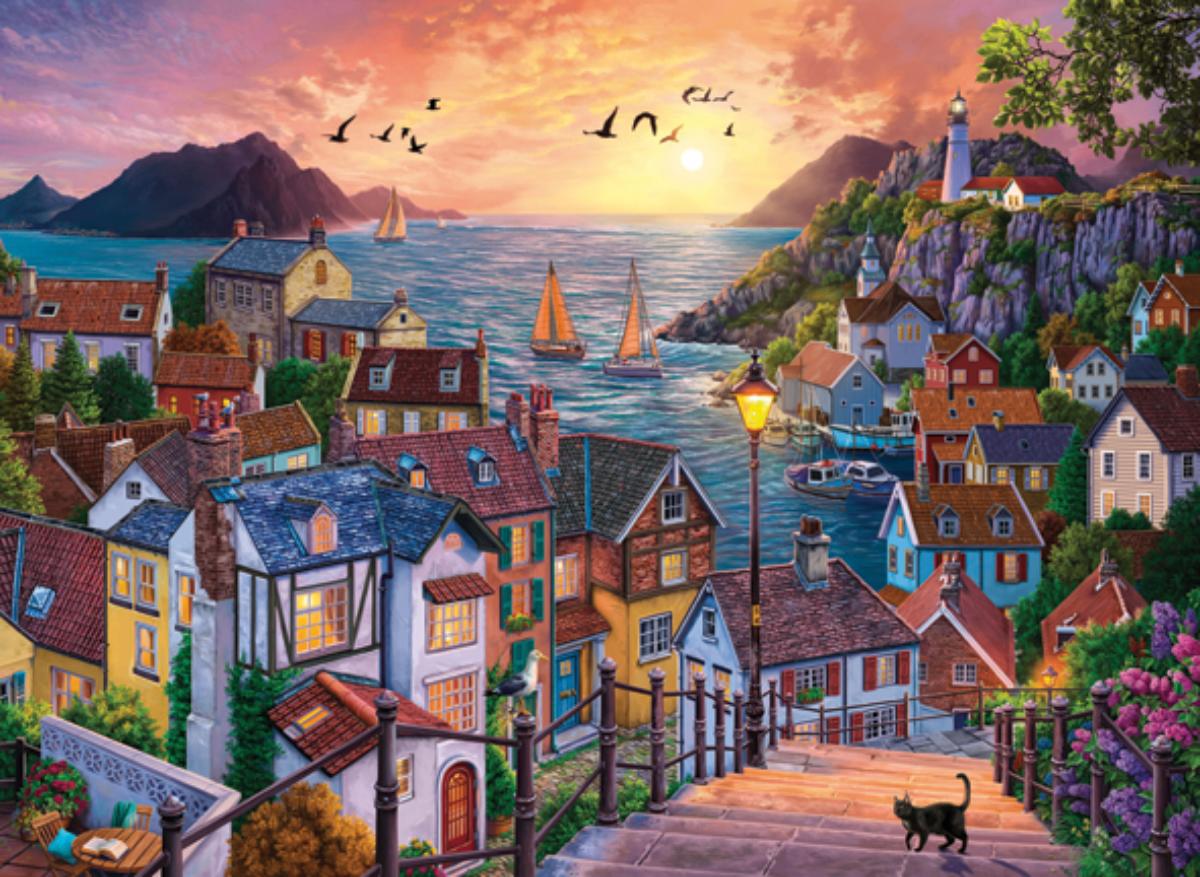 Coastal Town At Sunset Seascape / Coastal Living Jigsaw Puzzle