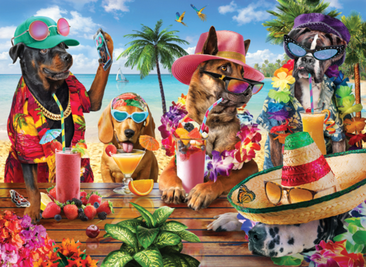 Dogs Drinking Smoothies On A Tropical Beach Dogs Jigsaw Puzzle
