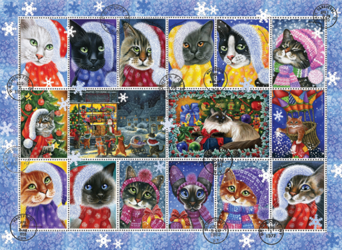 Christmas Cat Stamp Collection Cats Jigsaw Puzzle