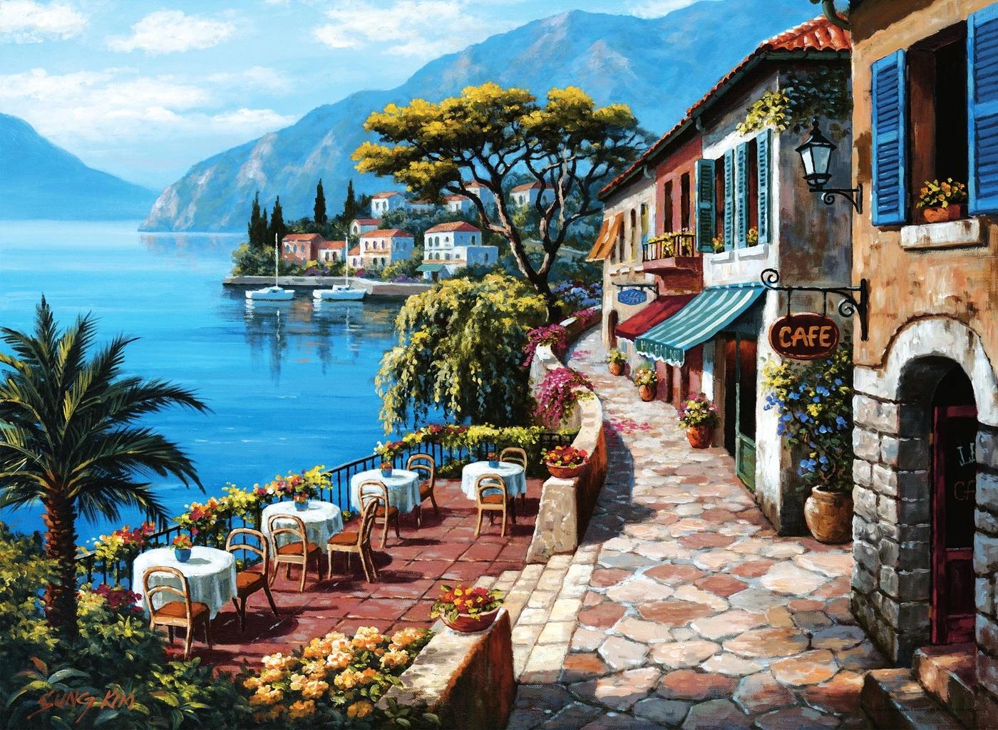 Overlook Café II Street Scene Jigsaw Puzzle