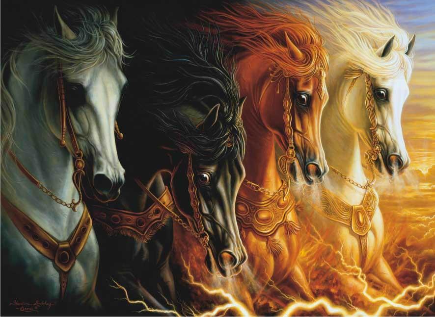 Four Horses of the Apocalypse Horses Jigsaw Puzzle