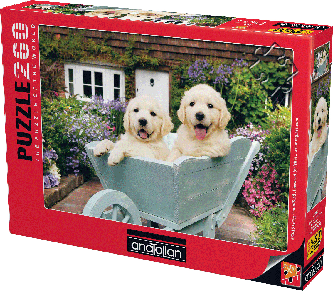 Puppies In A Wheelbarrow Dogs Jigsaw Puzzle
