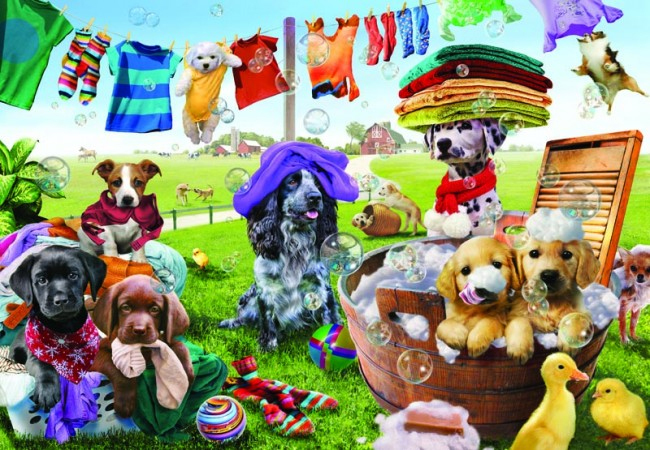 Puppies Playing Dogs Jigsaw Puzzle